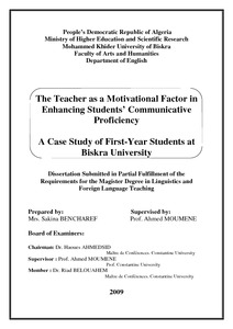 The Teacher As A Motivational Factor In Enhancing Students