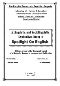 A Linguistic And Sociolinguistic Evaluative Study Of